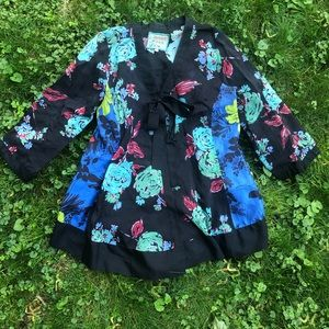 Johnny Was Kimono Silk Floral Top